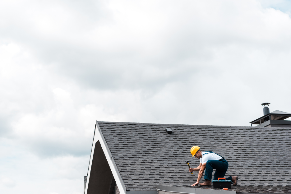 Roof repair at a house in Elk Grove Village, Illinois