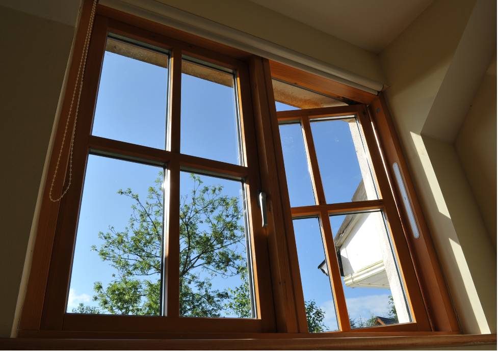 New wood windows at a house in Barrington Hills, Illinois